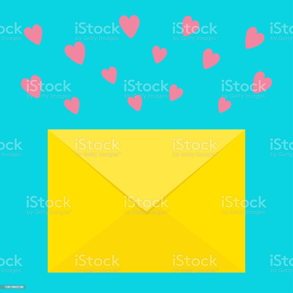 email icon yellow paper envelope love letter template with pink flying hearts new