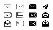 Email icons design parts set black and white monochrome vector illustration image material