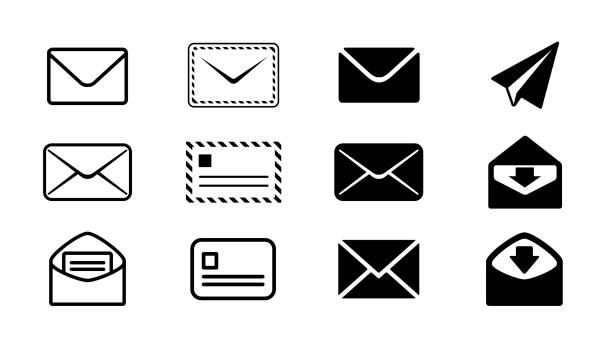 電子メールアイコンデザインパーツセット白黒モノクロベクトルイラスト画像素材 - メール点のイラスト素材/クリップアート素材/マンガ素材/アイコン素材
