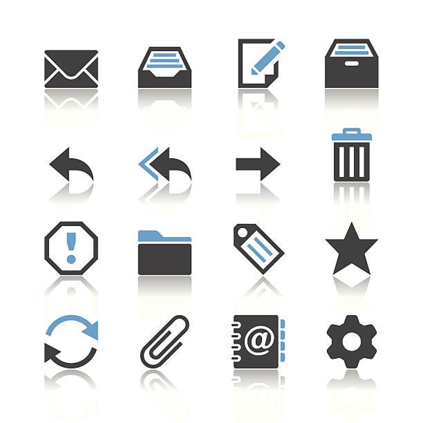 E-Mail-Ikonen-Reflexion-Thema – Vektorgrafik