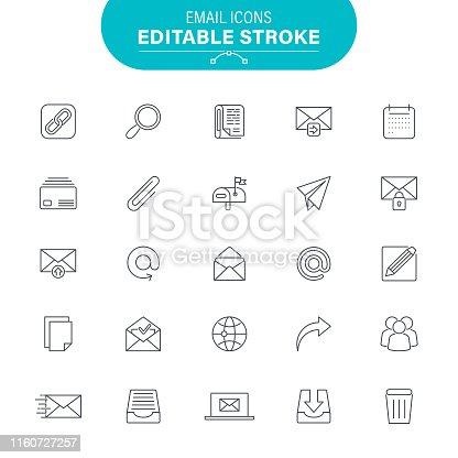 File, Mail, Envelope, Letter - Document, Data, Editable Icon Set