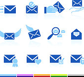email letter and communication color royalty free vector icon set