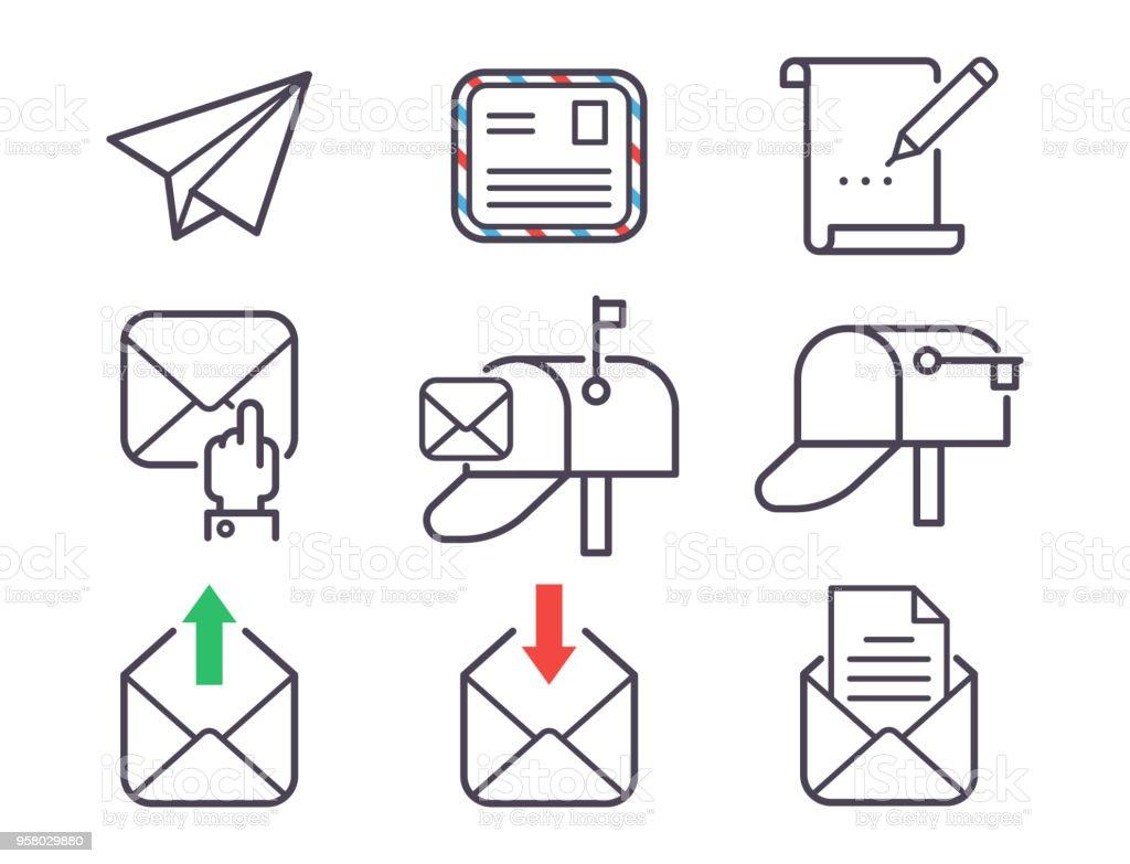 Emailbrief Vektor Icons Set Umschlag Abdeckung Leer