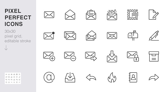 Email line icons set. Letter, spam mail, open envelope, postage stamp, mailbox, new document minimal vector illustrations. Simple flat outline signs for web. 30x30 Pixel Perfect. Editable Strokes.