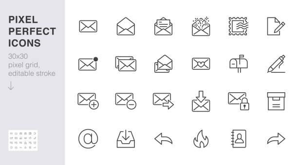 ilustrações, clipart, desenhos animados e ícones de ícones da linha de e-mail definidos. carta, correio de spam, envelope aberto, selo postal, caixa de correio, novo documento mínimo ilustrações vetoriais. simples placas de contorno plano para web. 30x30 pixel perfeito. traços editados - mensagem