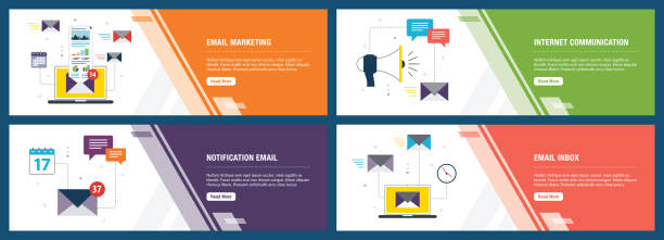 Email marketing and business communication Vector set of vertical web banners with email marketing, internet communication, notification email and email inbox. Vector banner template for website and mobile app development with icon set. email templates stock illustrations
