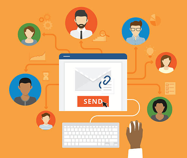 ilustraciones, imágenes clip art, dibujos animados e iconos de stock de concepto de correo electrónico de marketing y negocios - lentes contacto