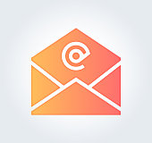 Email marketing benchmarks design gradient fill painted by path of the icon. Stylish graphic can also be used as simple vector template for silhouette illustrations.