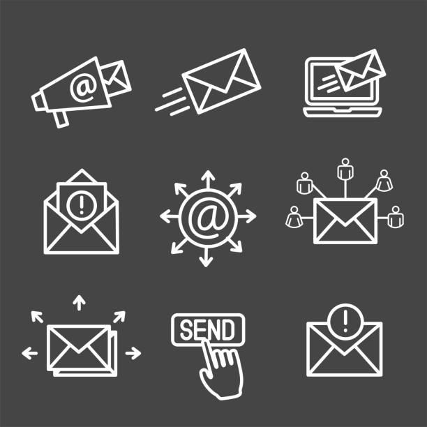 stockillustraties, clipart, cartoons en iconen met e-mail marketing campagnes icon set met e-mail lijst, aankondiging, verzenden knop - versturen