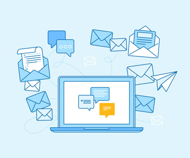 email marketing concept - laptop with mailing app - email icon stock illustrations, clip art, cartoons, & icons