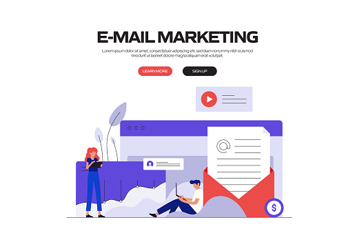 E-Mail Marketing Concept Vector Illustration for Website Banner, Advertisement and Marketing Material, Online Advertising, Business Presentation etc.