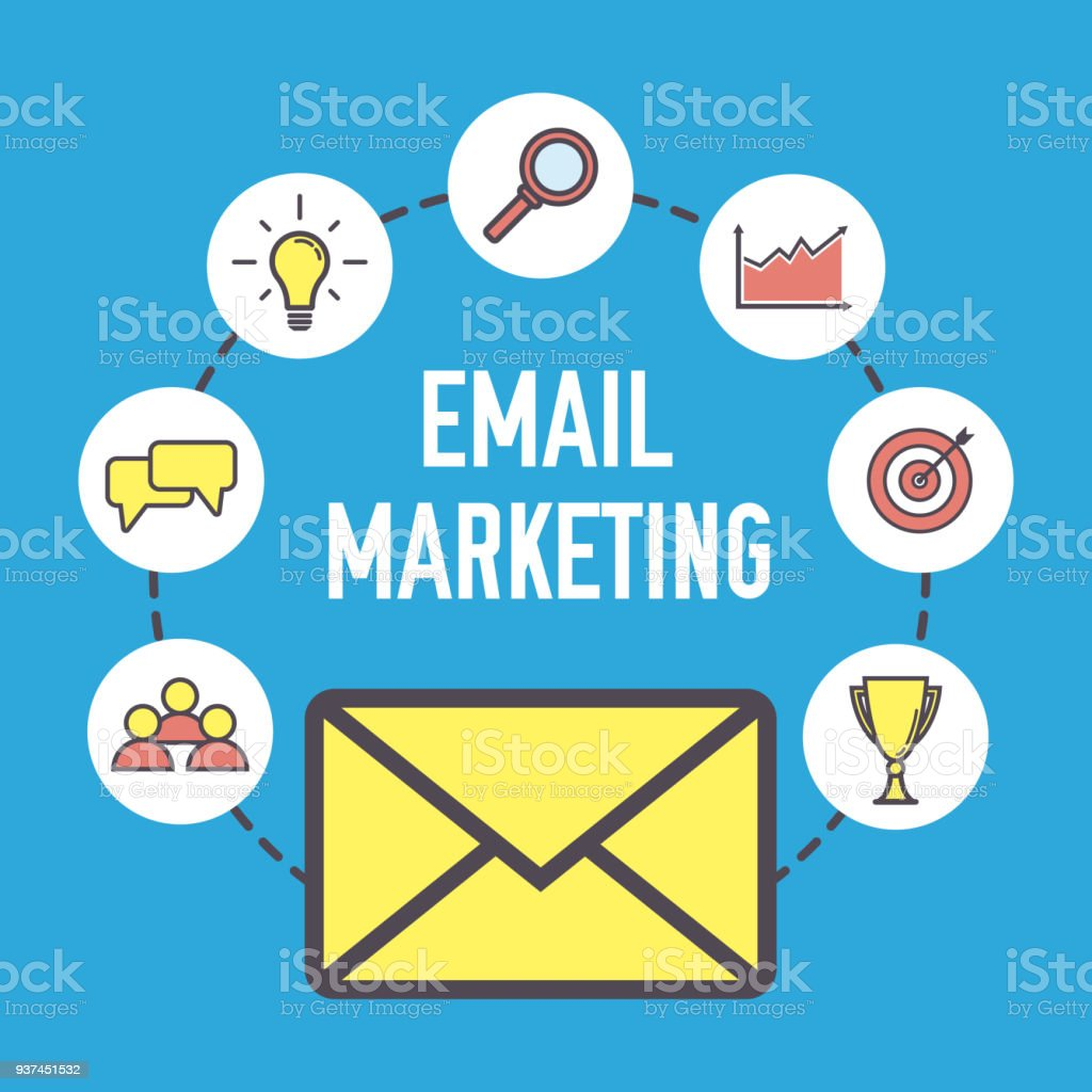 Email marketing design. Flat banner concept with icons. Digital...