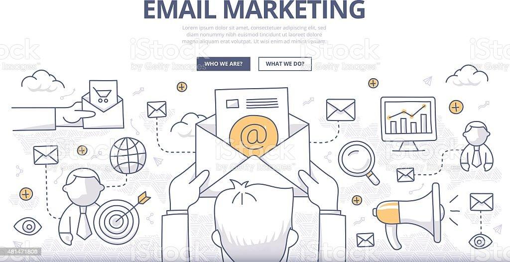 Email Marketing Doodle Concept vector art illustration