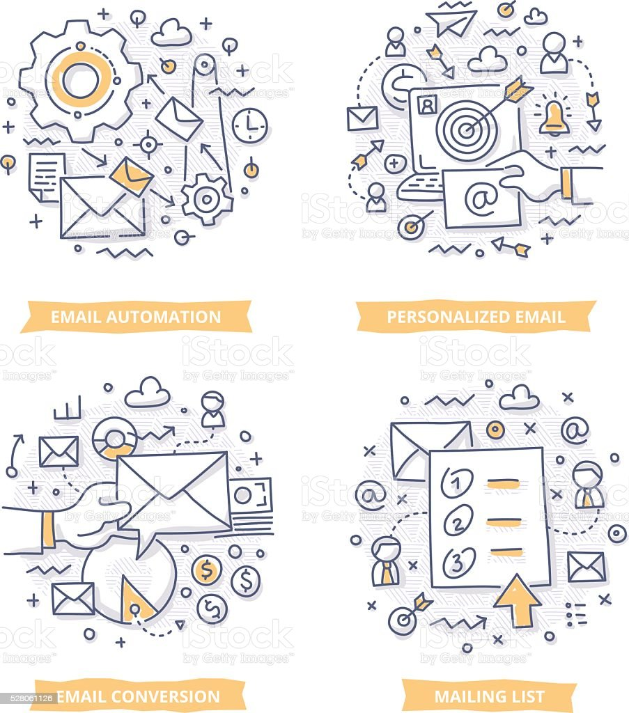 Email Marketing Doodle Illustrations vector art illustration