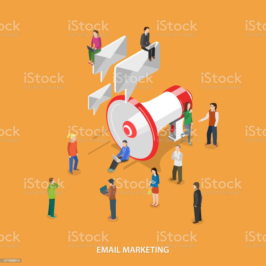 Email Marketing Flat Isometric Vector Concept. vector art illustration