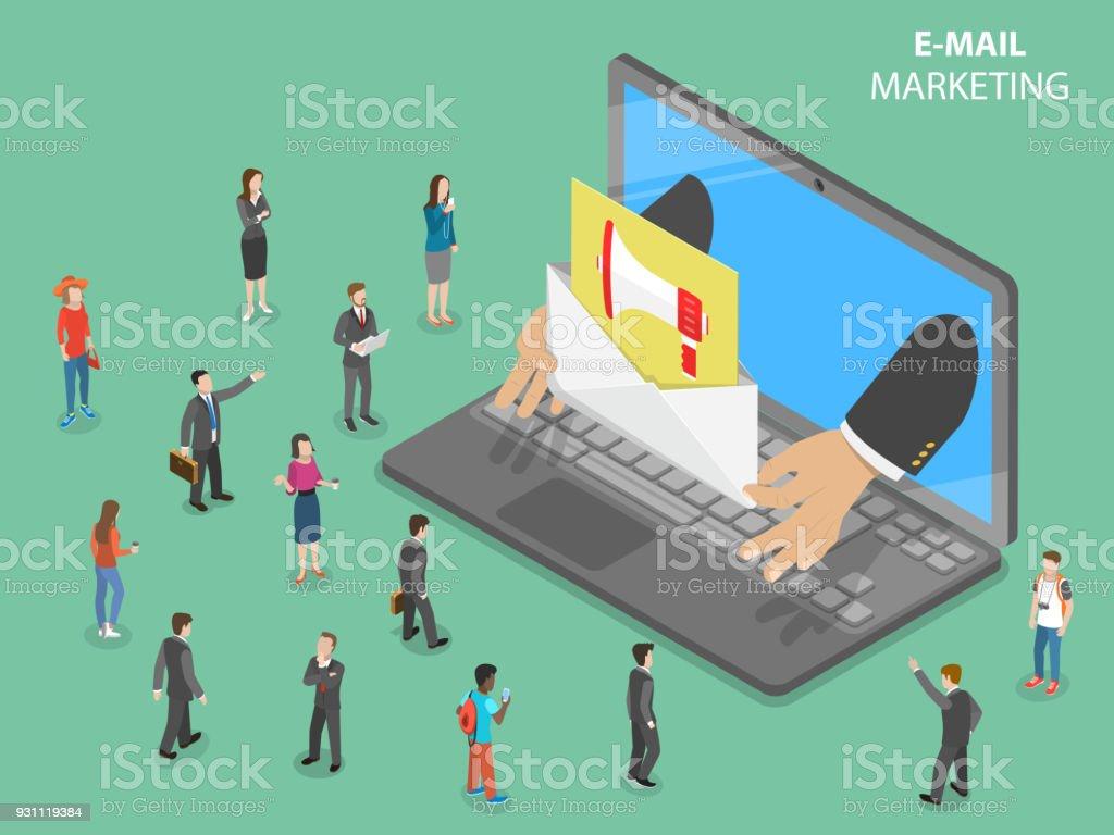 E-Mail-marketing flach isometrische Vektor-Konzept. – Vektorgrafik