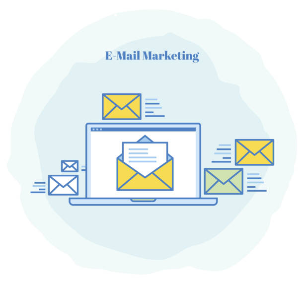 e-mail marketing icon - zagadnienia stock illustrations
