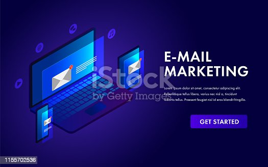 Email marketing isometric template concept for advertising campaign, reaching target audience and e-marketing with emails, laptop, tablet, mobile phone landing page, header banner with business icons.