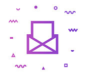 Email marketing outline style icon design with decorations and gradient color. Line vector icon illustration for modern infographics, mobile designs and web banners.