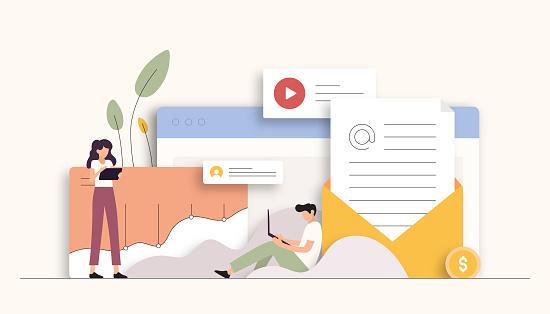 E-Mail Marketing Related Vector Illustration. Flat Modern Design