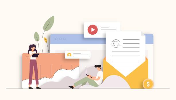 ilustrações, clipart, desenhos animados e ícones de ilustração do vetor relacionado ao mercado de e-mail. design moderno plano - social media