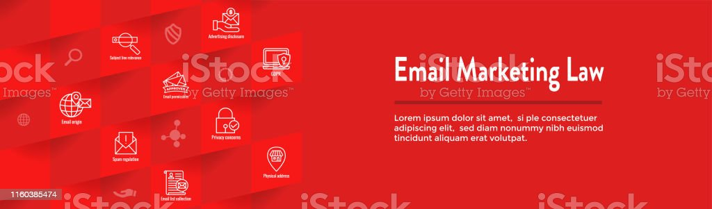 Email Marketing Rules & Regulations Icon Set and Web Header Banner