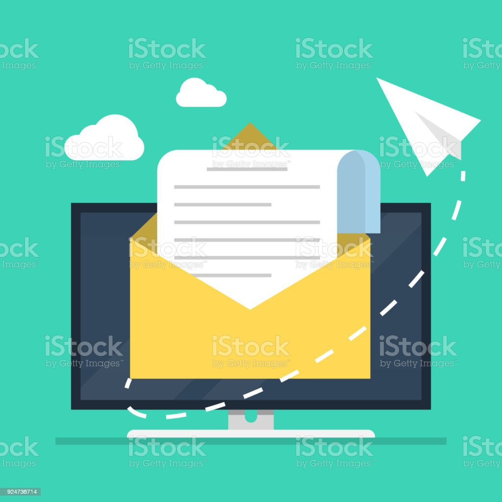 E-mail marketing. The concept of an open e-mail with a nested document against the backdrop of a computer monitor and a paper airplane. Flat vector illustration. vector art illustration