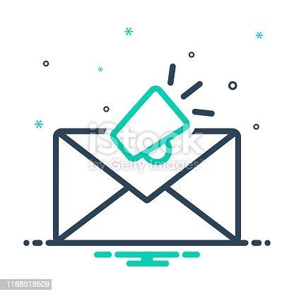 Icon for email marketing, envelope, newsletter, promotion, marketing, megaphone, publicity, communication