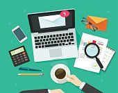 Email marketing vector illustration, analyzing or inspecting newsletter campaign