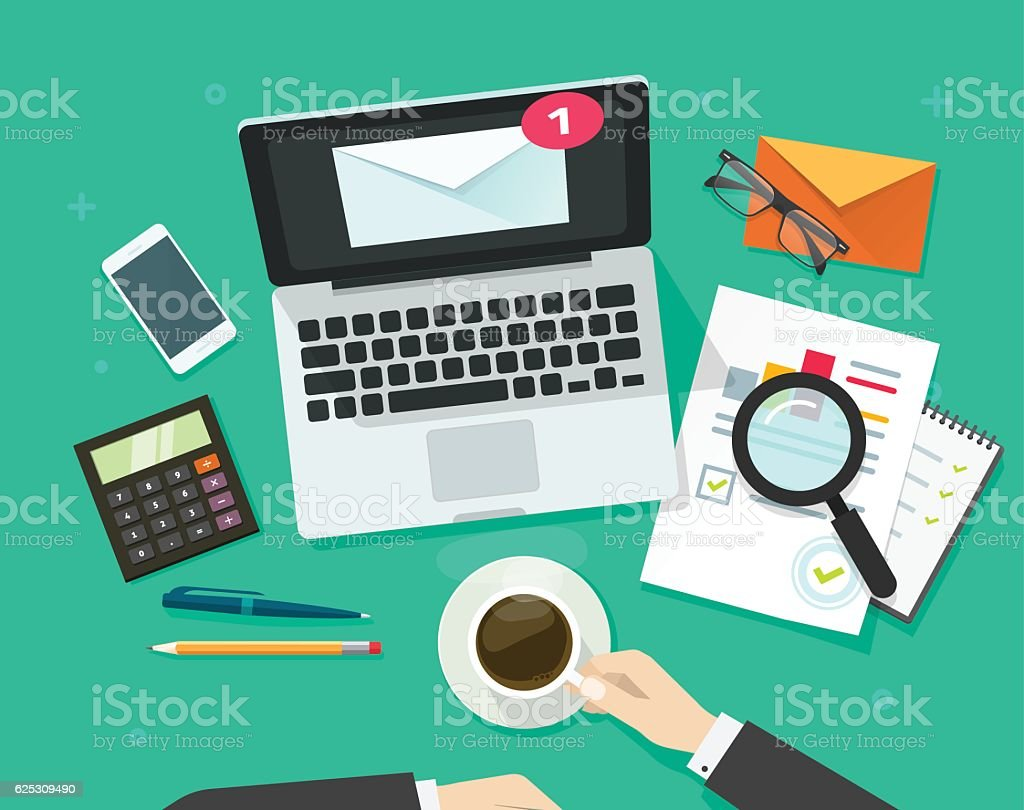 Email marketing vector illustration, analyzing or inspecting newsletter campaign vector art illustration