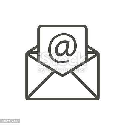 Email Message Icon Vector Line Open Mail Symbol Stock Vector Art
