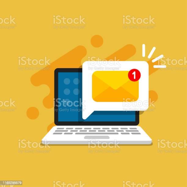 Emailnachricht Auf Dem Bildschirm Im Laptop Nachrichtenerinnerungskonzept Newsletter Auf Dem Computer Vektorillustration Im Flachen Stil Stock Vektor Art und mehr Bilder von Akte