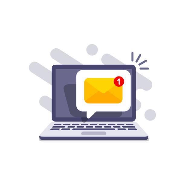 stockillustraties, clipart, cartoons en iconen met e-mail bericht op het scherm in laptop. bericht herinnerings concept. nieuwsbrief op computer. vector illustratie in platte stijl. - versturen