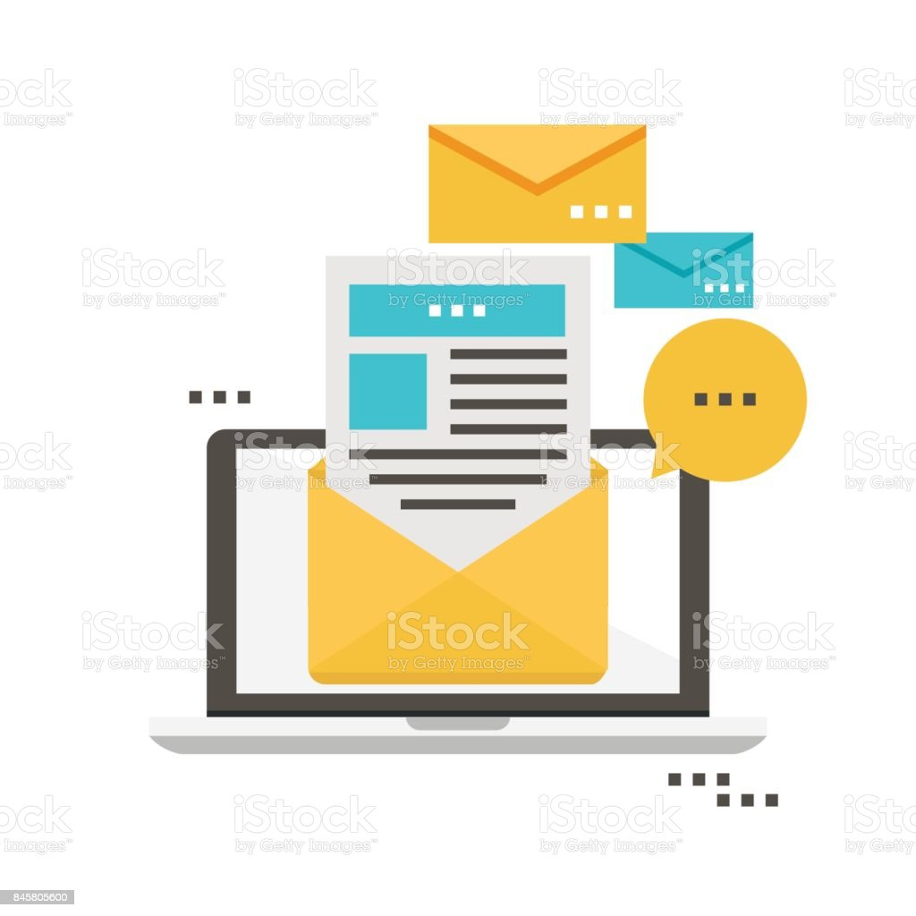 E-mail news, subscription, promotion flat vector illustration design. Newsletter icon flat vector art illustration