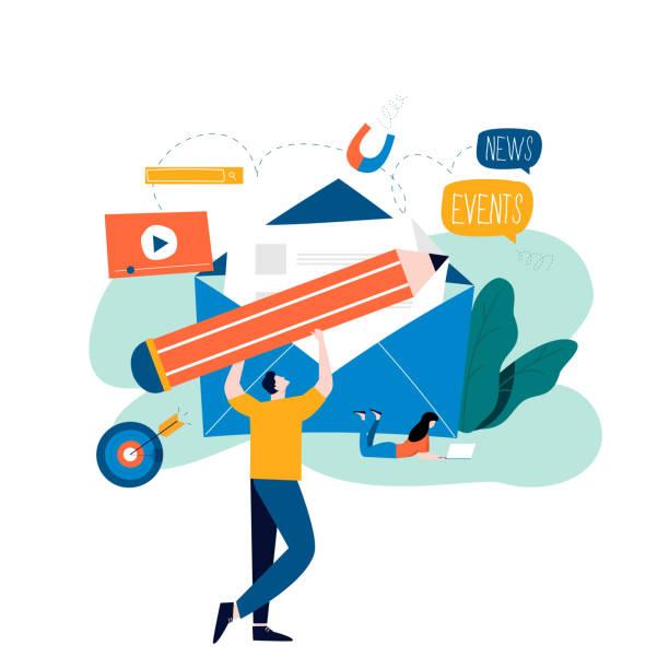 E-mail news, subscription, promotion flat vector illustration vector art illustration