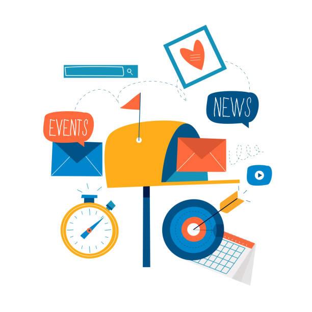 E-mail news, subscription, promotion vector art illustration