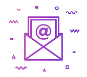 Email newsletter outline style icon design with decorations and gradient color. Line vector icon illustration for modern infographics, mobile designs and web banners.