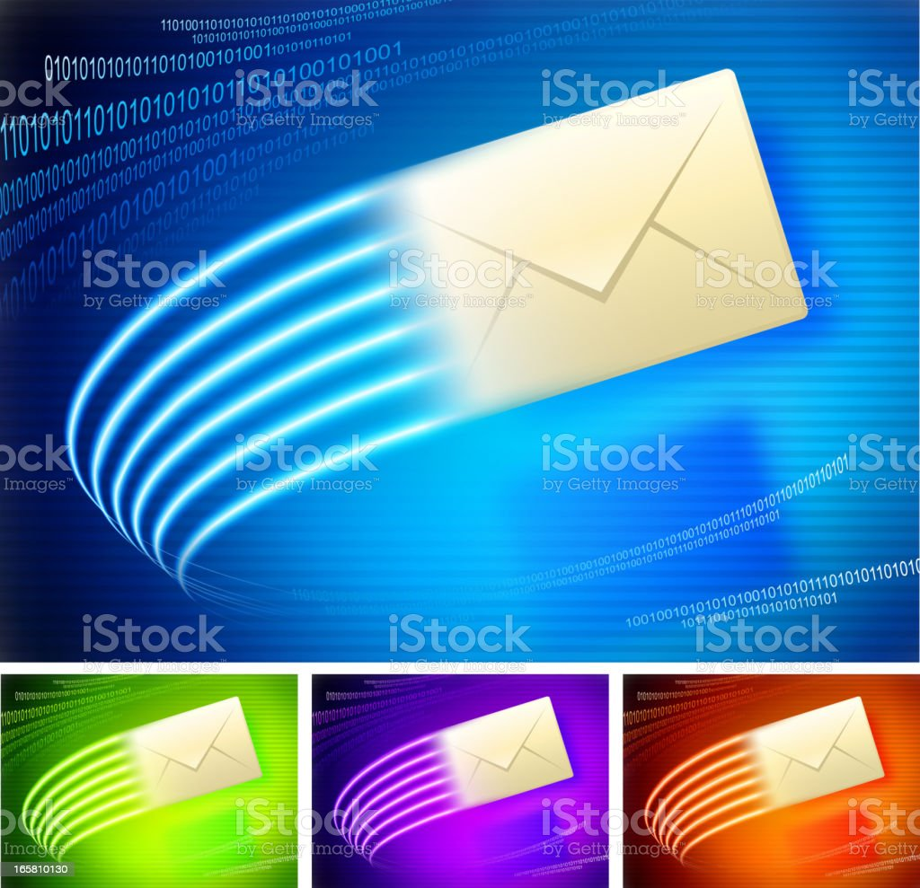 Email on binary code lights Background collection royalty-free stock vector art