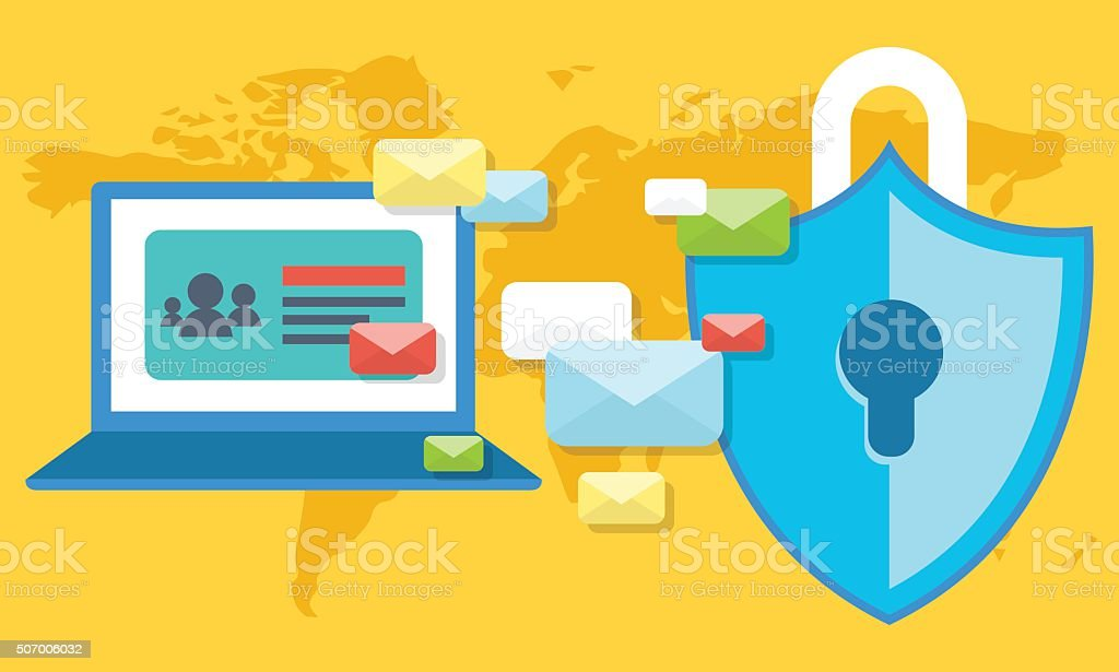 Email Security Concept with Encrypted Information vector art illustration
