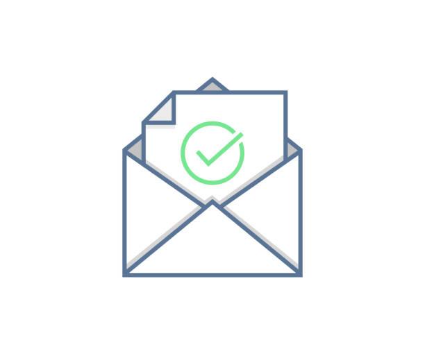 stockillustraties, clipart, cartoons en iconen met e-mail verzonden of ontvangen pictogram concept. envelop met vinkje vector design - versturen