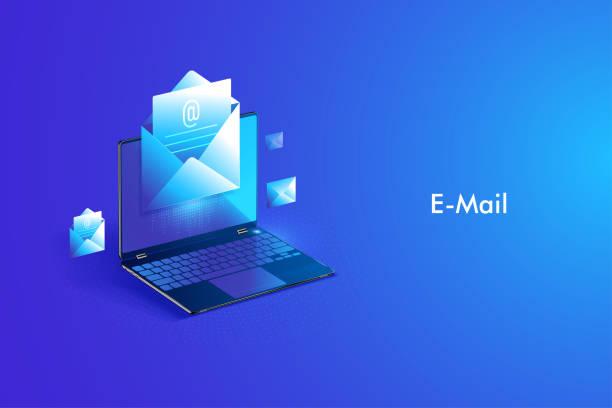 stockillustraties, clipart, cartoons en iconen met e-mail service isometrisch ontwerp. elektronisch e-mail bericht en webmail of mobiele service - laos indochina