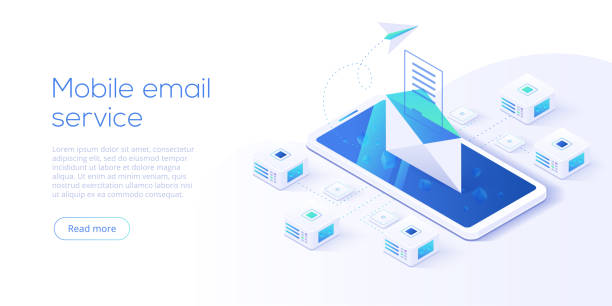 ilustrações de stock, clip art, desenhos animados e ícones de email service isometric vector illustration. electronic mail message concept as part of business  marketing. webmail or mobile service layout for website landing header. newsletter sending background. - inbound marketing