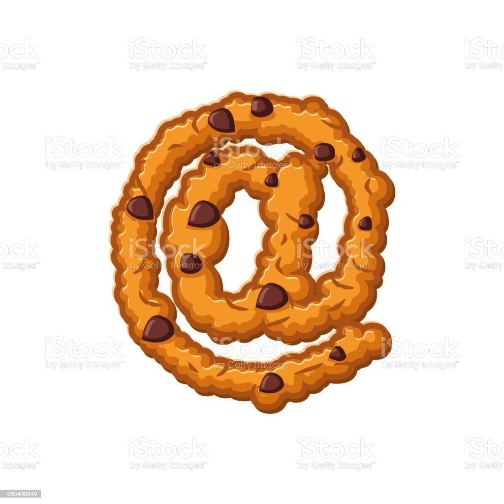 e-mail sign letter cookies. Cookie font. Oatmeal biscuit alphabet symbol. Food sign ABC email sign letter cookies cookie font oatmeal biscuit alphabet symbol food sign abc - arte vetorial de stock e mais imagens de alfabeto royalty-free