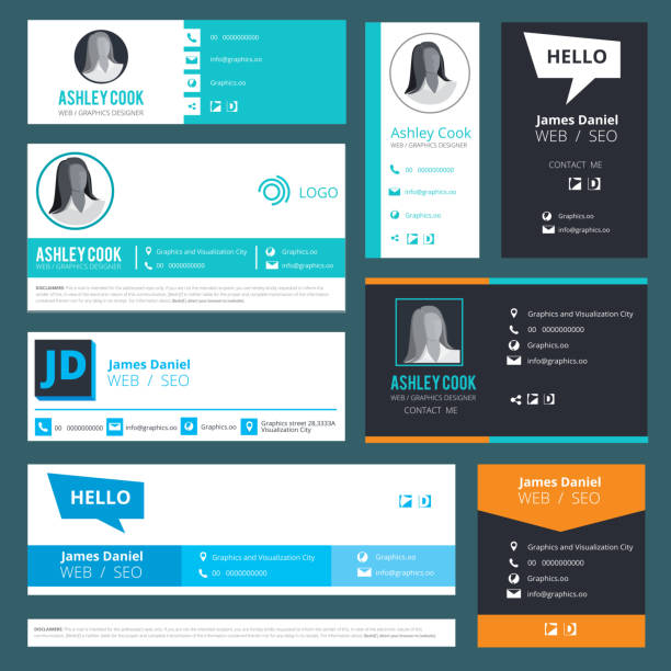 Email signature. Emailers author visit cards user interface design template vector Email signature. Emailers author visit cards user interface design template vector. Illustration of business address, telephone, profile person ui signature stock illustrations