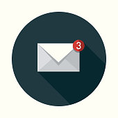 istock Email Social Media Flat Design Icon with Side Shadow 874215412