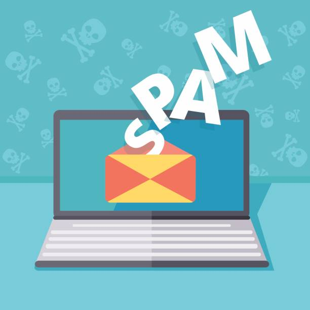 メールをスパムやフィッシング セキュリティ ベクトル概念図。なりすましの電子メールやインスタント メッセージングによってハッキング。オンラインのコンピューター ウイルスの脅威と安全性。セキュアでないサーバ詐欺や攻撃。 - id盗難点のイラスト素材/クリップアート素材/マンガ素材/アイコン素材