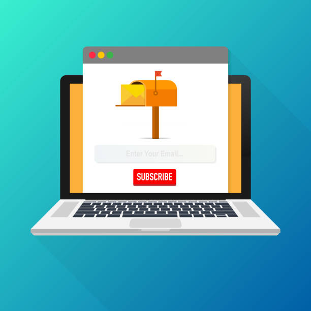 illustrazioni stock, clip art, cartoni animati e icone di tendenza di email subscribe, online newsletter vector template with mailbox and submit button on laptop screen. - newsletter