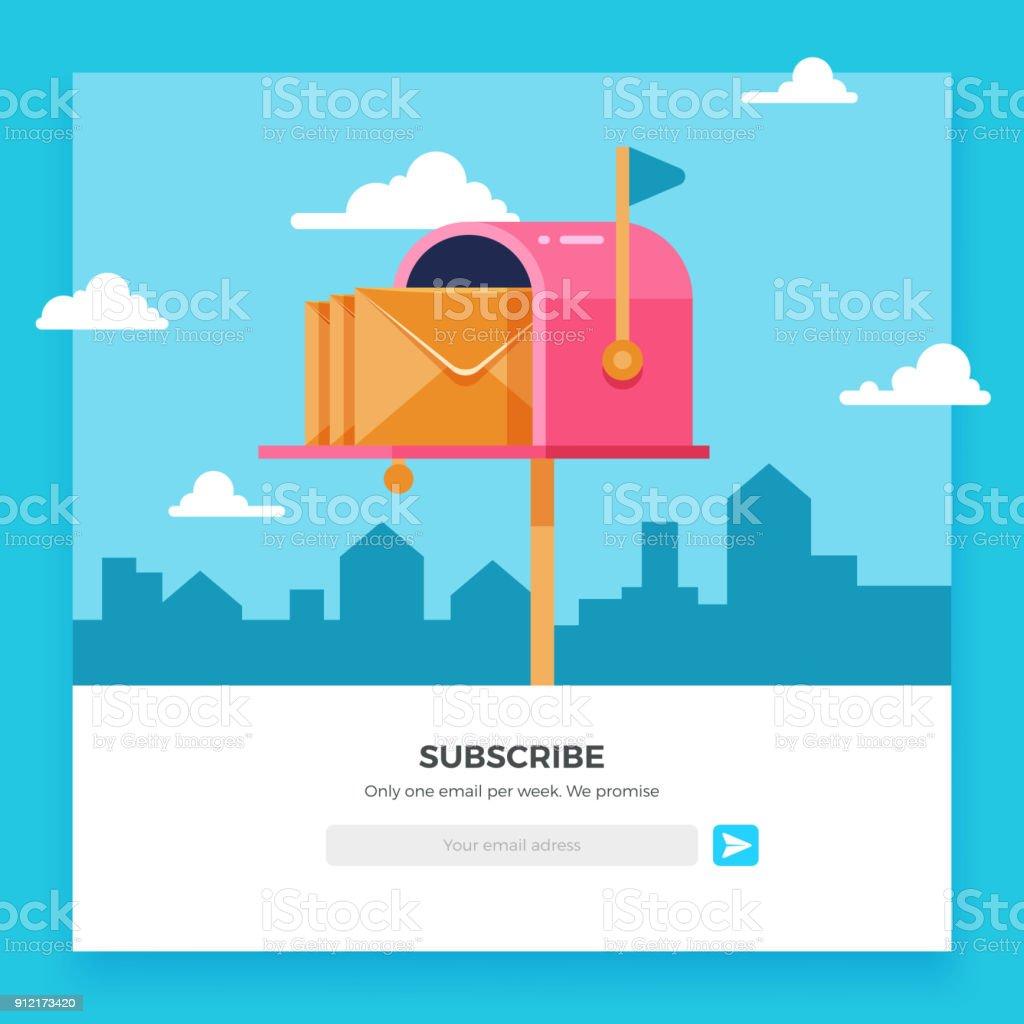 E-Mail zu abonnieren, online-Newsletter-Vektor-Template mit Postfach und Schaltfläche einreichen – Vektorgrafik