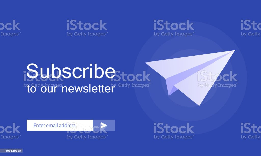 Email Subscribe Online Newsletter Vector Template With Plane