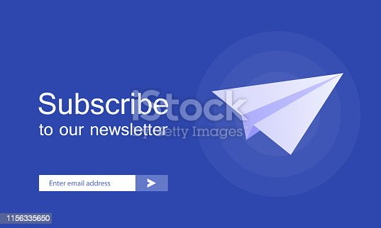 Email subscribe, online newsletter vector template with plane and submit button for website. Modern vector illustration.